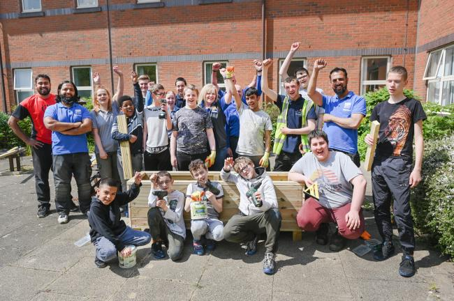 Students get to work on hospital garden
